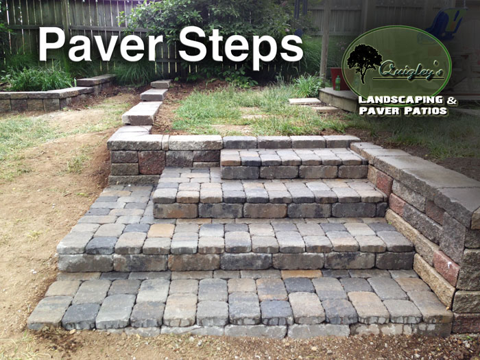 Paver-Steps with a retaining wall.